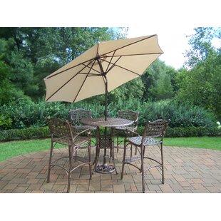 Thelma 5 Piece Bar Height Dining Set with Umbrella ByAstoria Grand