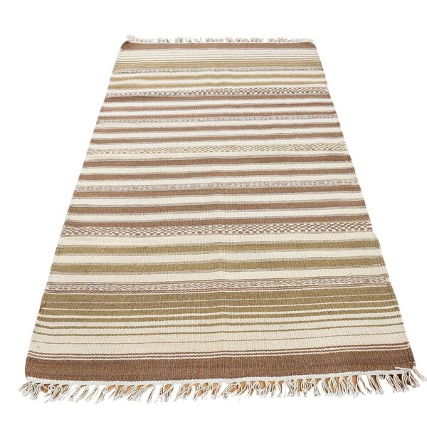 Reversible Durie Kilim Hand-Knotted Ivory/Light Brown Area Rug by Bloomsbury Market
