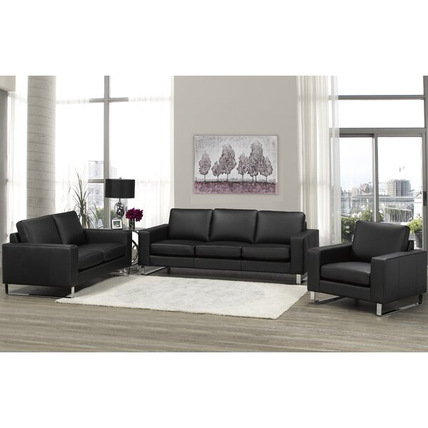 Keown 3 Piece Leather Living Room Set by Orren Ellis