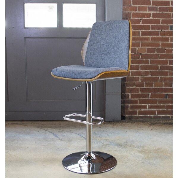 Bent Wood Fabric Adjustable Height Swivel Bar Stool by AmeriHome