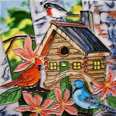 3 Birds with Bird House Tile Wall Decor by Continental Art Center
