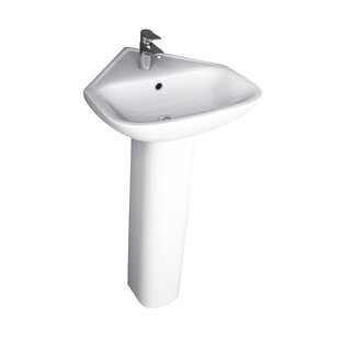 Read Reviews Eden Corner Vitreous China 18 Pedestal Bathroom Sink with Overflow By Barclay