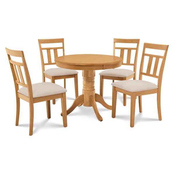 Cedarville 5 Piece Carved Rubber Solid Wood Dining Set by Alcott Hill Alcott Hill