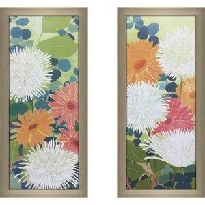 'Tangerine Garden II' 2 Piece Framed Print Set by Latitude Run