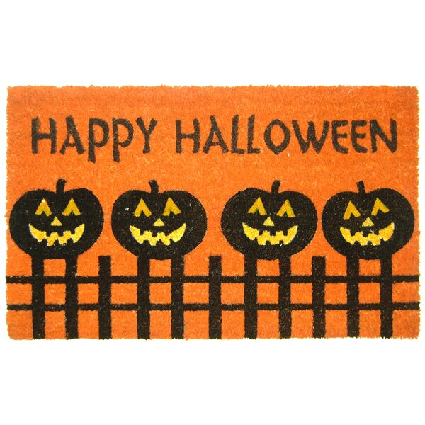 Halloween Pumpkin Fence Doormat by Geo Crafts, Inc