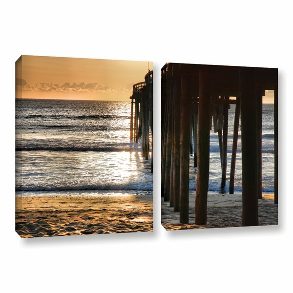 Fishing Pier by Steve Ainsworth 2 Piece Photographic Print on Gallery Wrapped Canvas Set by ArtWall
