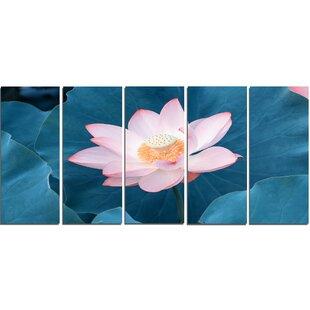 Pink flower wall art wayfair blooming pink lotus flower 5 piece wall art on wrapped canvas set mightylinksfo