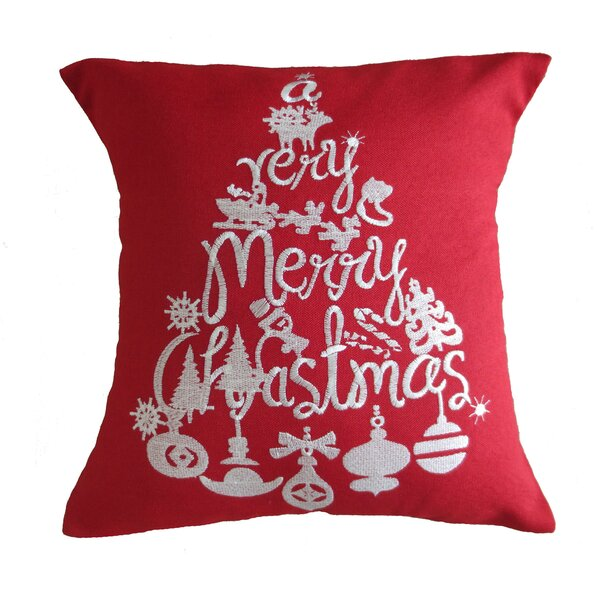 Christmas Greeting Decorative Embroidered Burlap Throw Pillow by Violet Linen