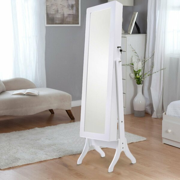 Fairhaven Wooden Free Standing Jewelry Armoire with Mirror by Alcott Hill