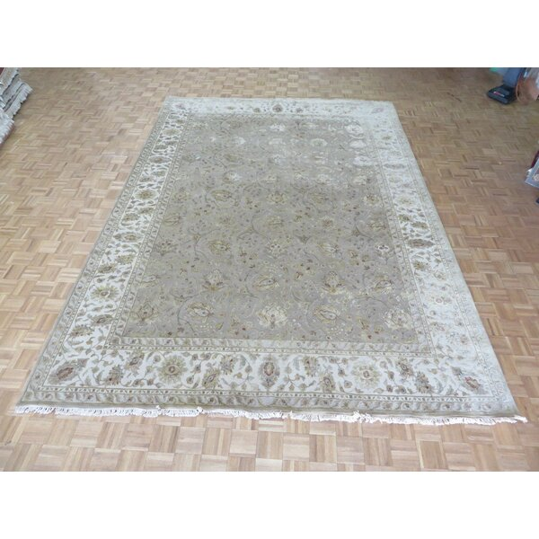 One-of-a-Kind Josephson Hand-Knotted Taupe 10' x 14'2 Silk Area Rug