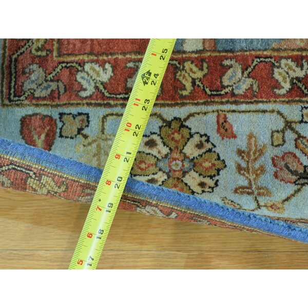 One-of-a-Kind Coinde Antiqued Bakshaish Natural Dyes Handwoven Blue Wool Area Rug by Isabelline