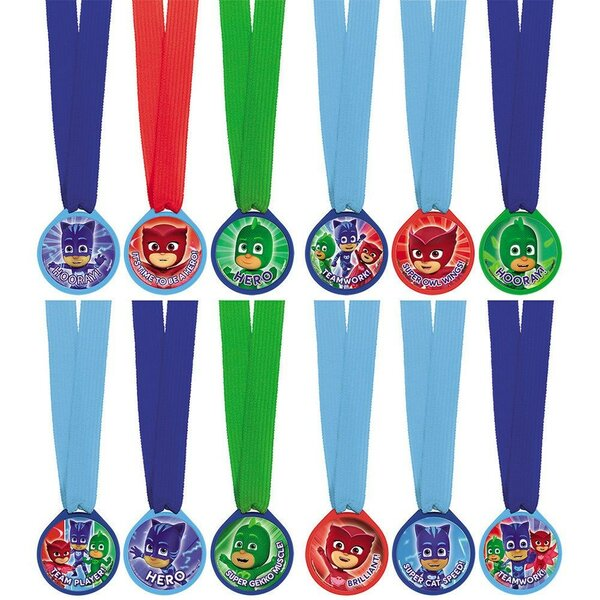 12 Piece PJ Masks Plastic Disposable Award Medals Set [NA]