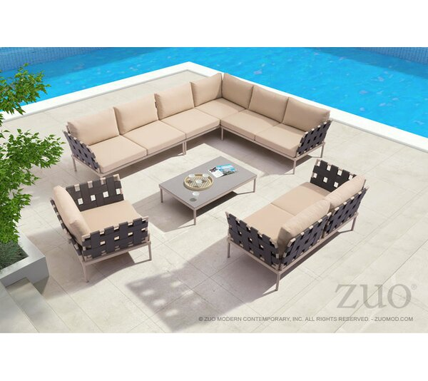 Cianciolo 4 Piece Sectional Seating Group with Cushions by Brayden Studio