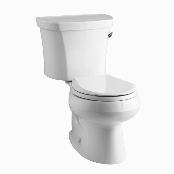 Wellworth Two-Piece Round-Front 1.28 GPF Toilet with Class Five Flush Technology, Right-Hand Trip Lever, Insuliner Tank Liner and Tank Cover Locks by Kohler