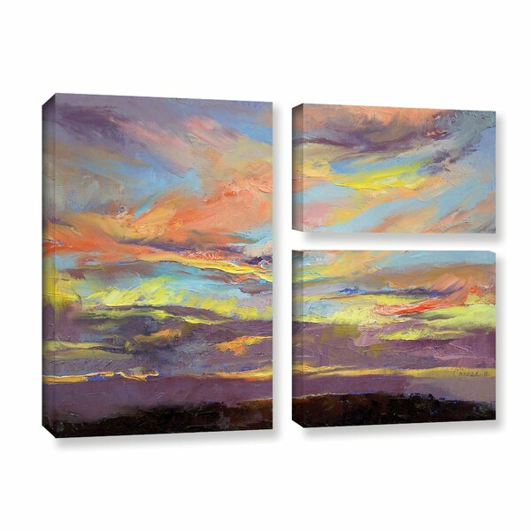 Atahualpa Sunset by Michael Creese 3 Piece Painting Print on Gallery Wrapped Canvas Set by ArtWall