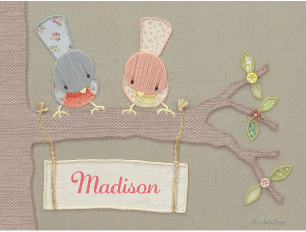 Vintage Sign Birdies by Kristen White Personalized Canvas Art by Oopsy Daisy
