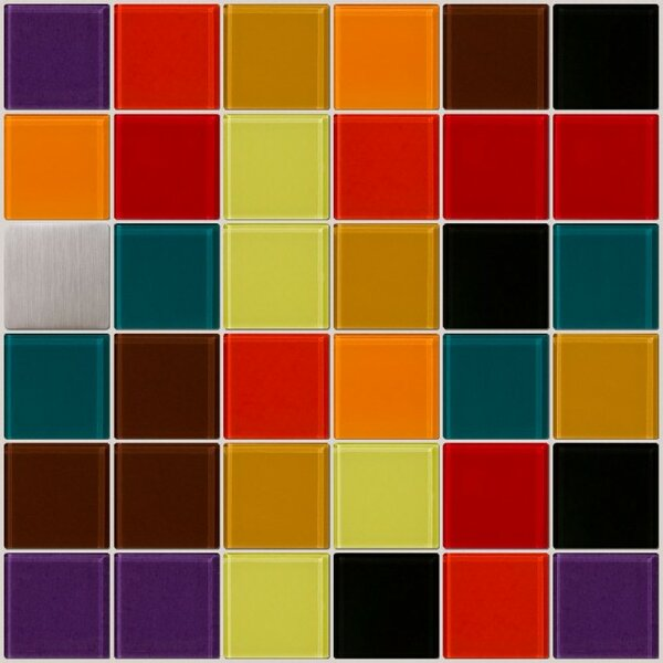 Signature Line Vibrant Kitchen Glass Mosaic Tile in Red/Brown/Green by Susan Jablon