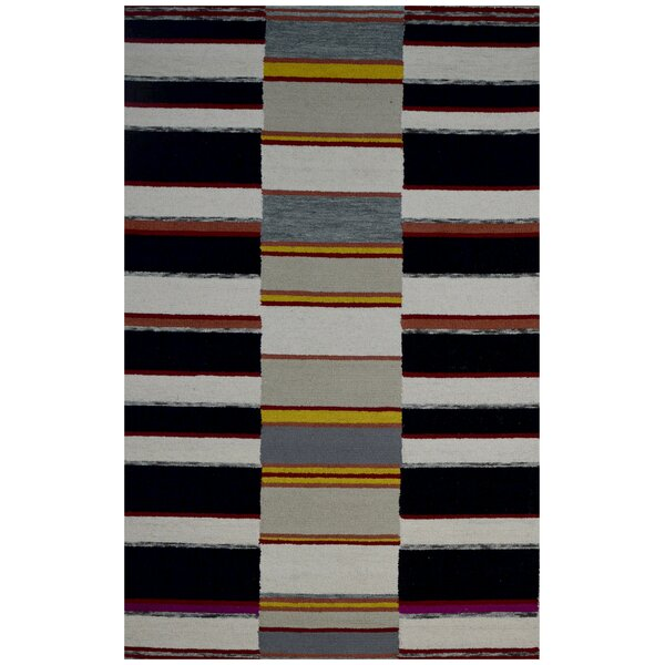 Hand-Woven Ivory/Black Area Rug by Eastern Weavers