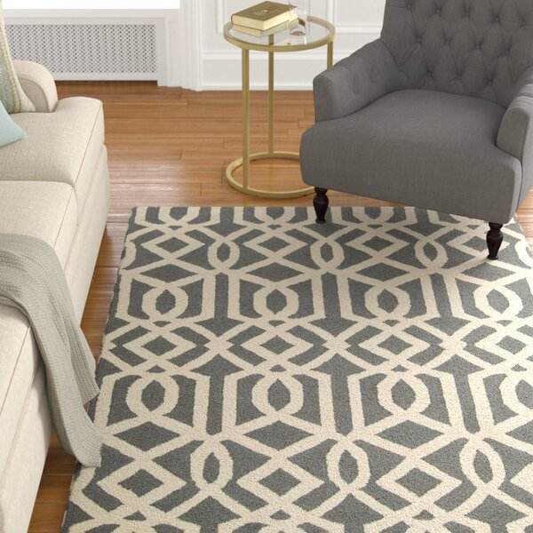 Hulings Hand-Knotted Gray/Ivory Area Rug by Alcott Hill