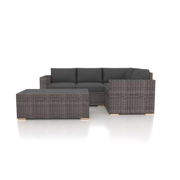 Holcomb 5 Piece Rattan Sectional Seating Group with Sunbrella Cushions by Rosecliff Heights