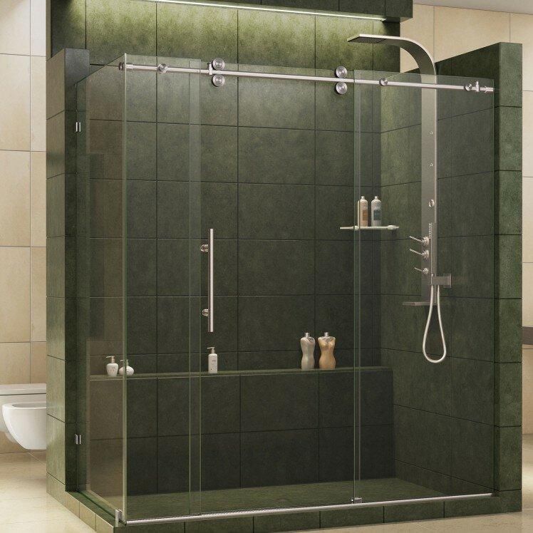 36 x 36 corner shower stall. Enigma Fully Frameless 72 5  x 36 79 Rectangle Sliding Shower Enclosure Stalls Enclosures You ll Love Wayfair
