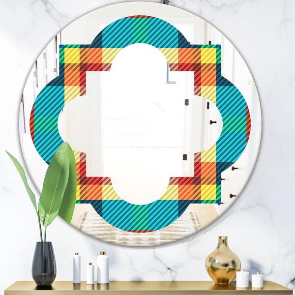 Quatrefoil Tartan Geometrical Texture III Modern Farmhouse Frameless Wall Mirror