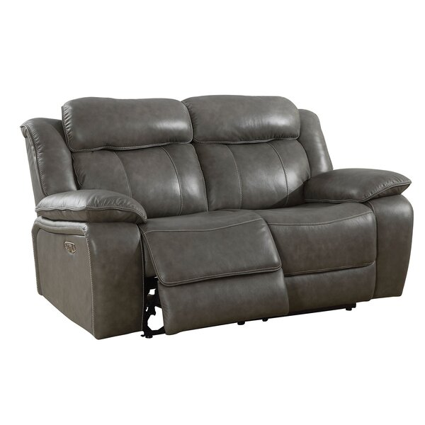 Heitzman Contemporary Love Seat Leather Manual Wall Hugger Recliner [Red Barrel Studio]