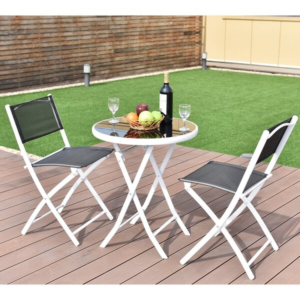 Kumru Folding Garden Backyard 3 Piece Bistro Set by Latitude Run