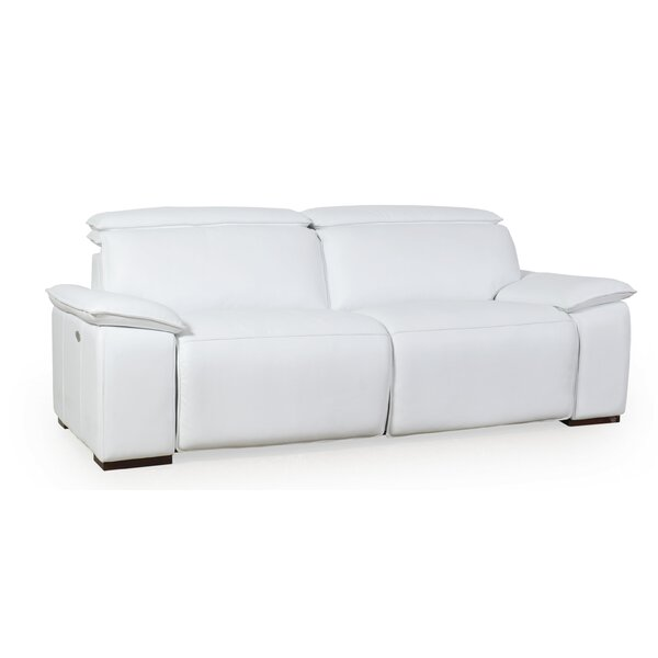 Clarksburg Motorized Genuine Leather Reclining Sofa by Orren Ellis