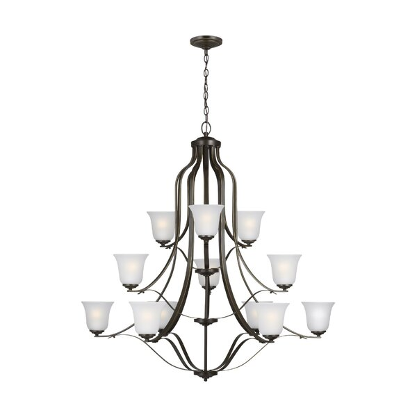 Burhall 12 - Light Shaded Tiered Chandelier by Darby Home Co Darby Home Co