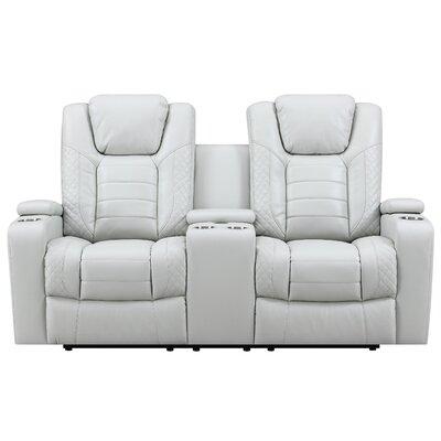Global Furniture U1867 Leather Power Console Reclining Loveseat Decor+