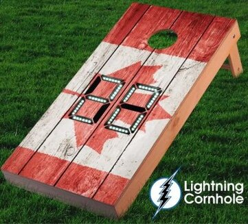 Electronic Scoring Canadian Flag Textured Cornhole Board by Lightning Cornhole