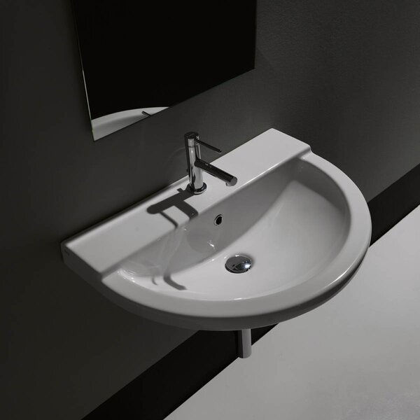 One Ceramic Ceramic U-Shaped Vessel Bathroom Sink with Overflow by WS Bath Collections