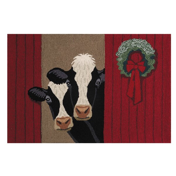Corbett Holiday Cows Hand-Hooked Wool/Cotton Red A