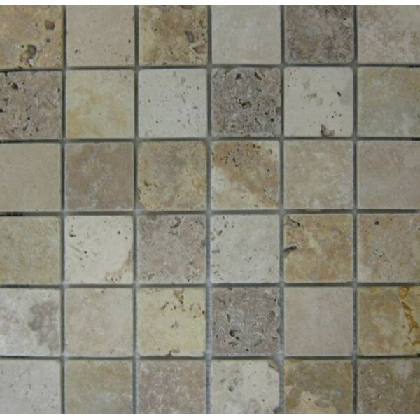 2 x 2 Mosaic Tile in Ivory/Noche/Gold by Ephesus Stones