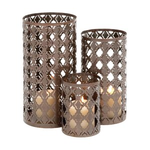 Quatrefoil 3 Piece Metal Votive Set