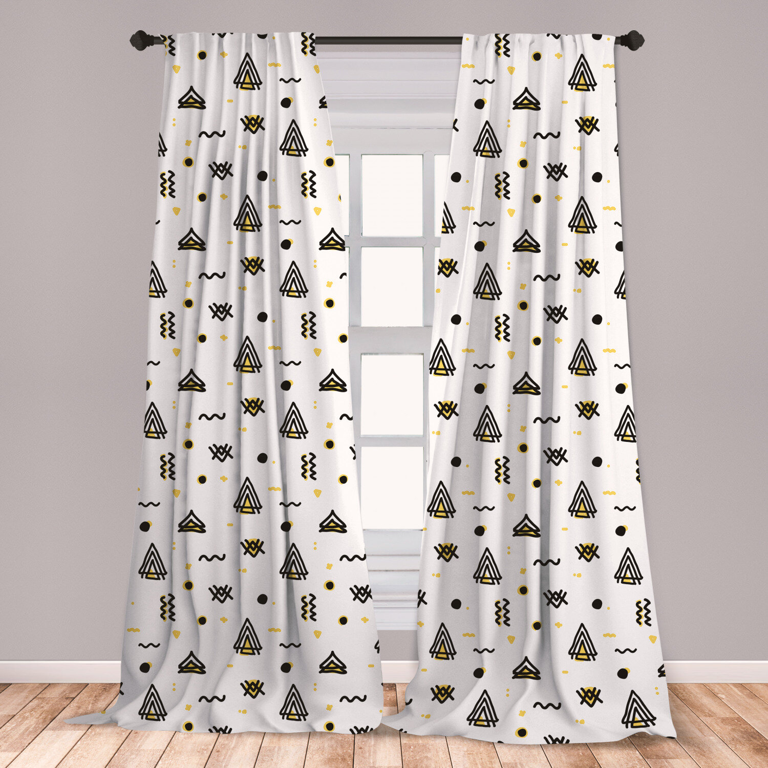 East Urban Home Ambesonne Tribal 2 Panel Curtain Set Abstract Angled Curved Stripes With Dots Triangles Doodle Style Composition Lightweight Window Treatment Living Room Bedroom Decor 56 X 95 Yellow Black White Wayfair