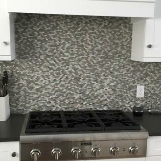 Signature Line Glass Mosaic Tile in Gray by Susan Jablon