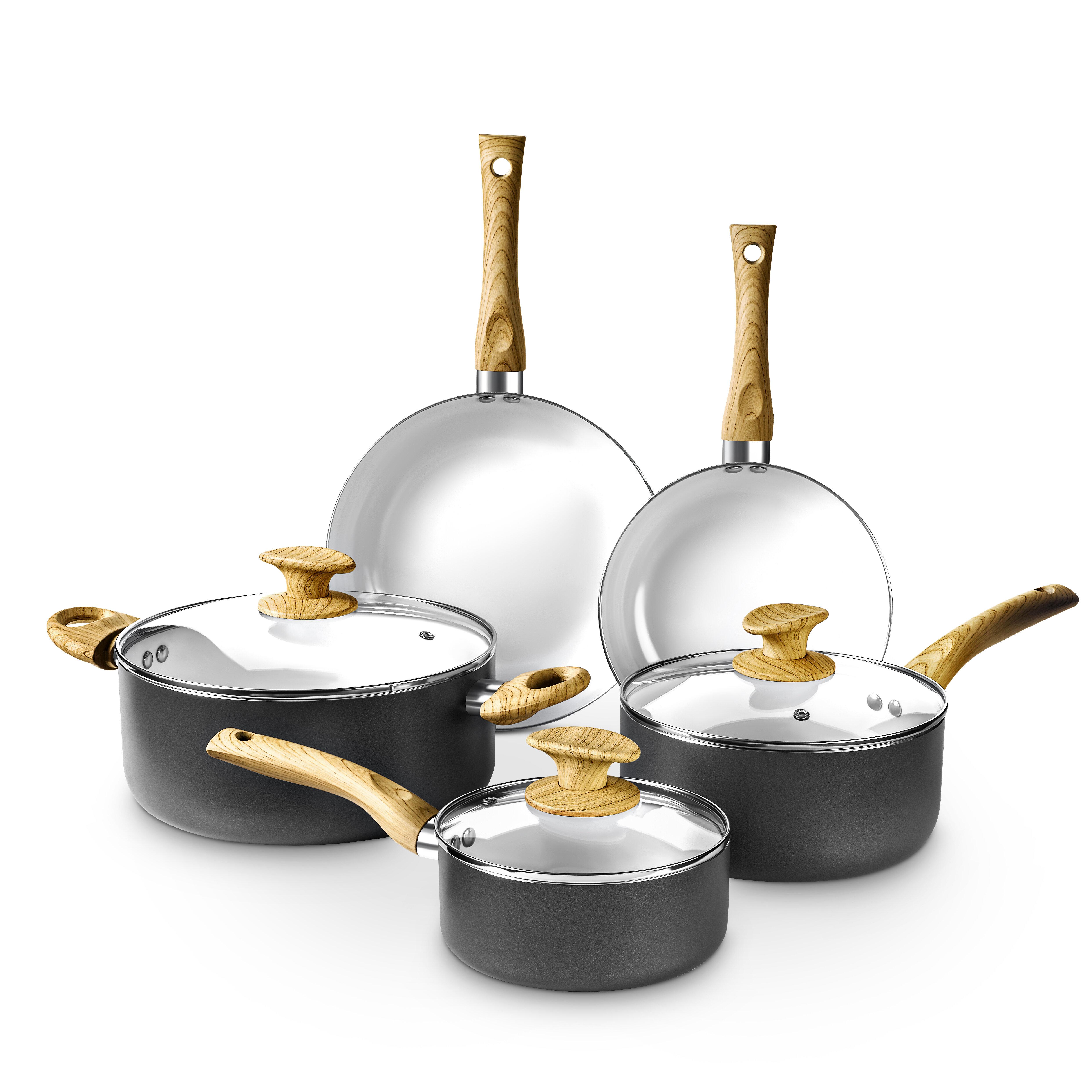 Casserole Induction Compatible Vitroceramique art and cook 8 piece aluminum non stick cookware set