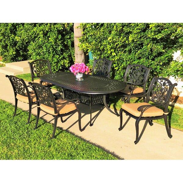 Camptown 7 Piece Sunbrella Dining Set with Cushions by Fleur De Lis Living