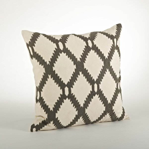 Dakota Ari Embroidered Cotton Throw Pillow by Saro