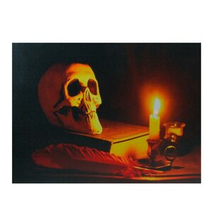'LED Lighted Antique Candle and Skull Halloween' Photographic Print on Canvas by The Holiday Aisle