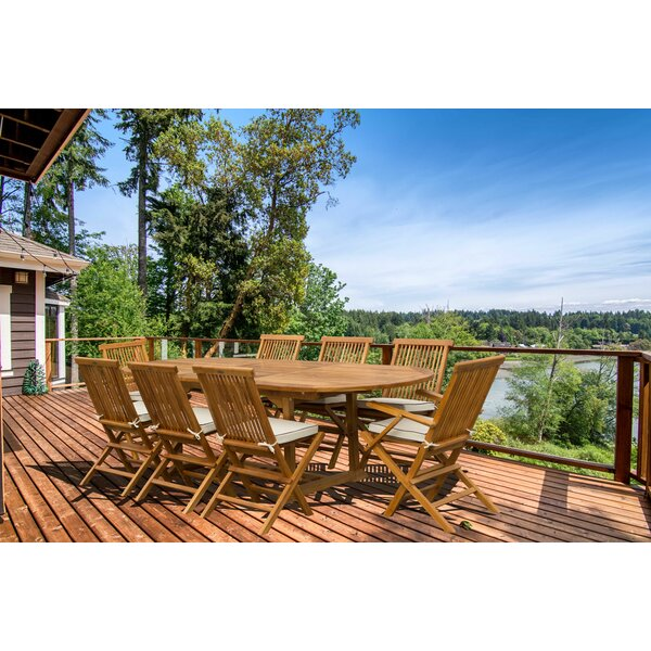 Addilyn 9 Piece Teak Dining Set with Sunbrella Cushions by Bay Isle Home