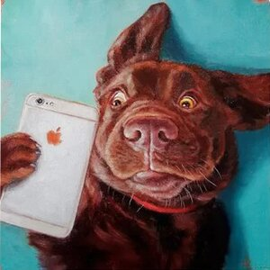 'Dog Selfie' Print on Canvas by East Urban Home