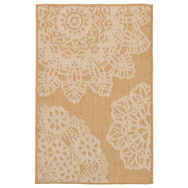 Ideal Crochet Beige/Yellow Indoor/Outdoor Area Rug by Bungalow Rose