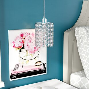 Compare prices Austina Cylindrical 1-Light Crystal Pendant By Willa Arlo Interiors