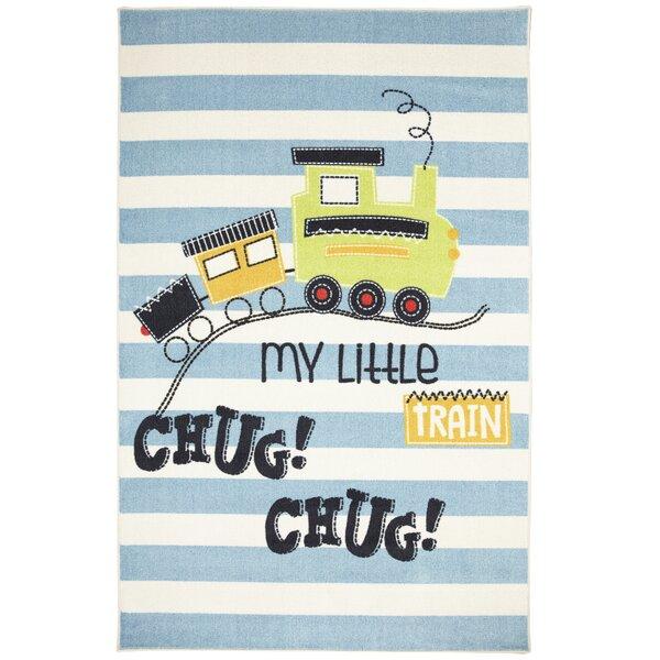 Engler My Little Train Blue/Beige Area Rug by Zoomie Kids