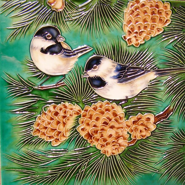 2 Birds Standing on Pine Tree Tile Wall Decor by Continental Art Center