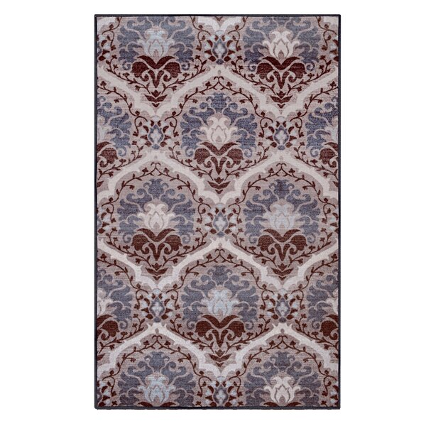 Connor Printed Non-Slip Chocolate Area Rug by Charlton Home
