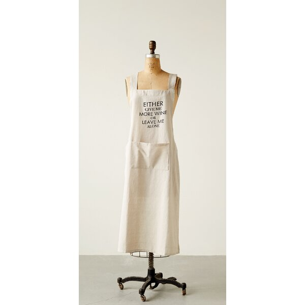 Cotton Chambray Give Me More Wine Apron by Winston Porter